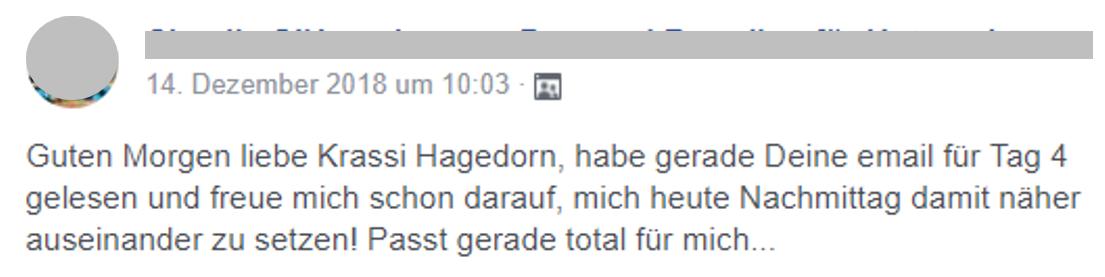 Testimonial Positionierungs-Email Kurs Krassi Hagedorn